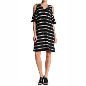 Max Studio Striped Cold Shoulder Dress Sz S